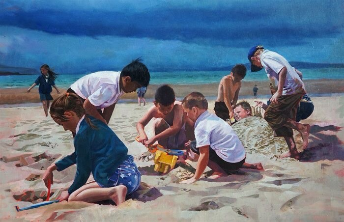 """Painting """"On The Beach""""by John Cooney"""